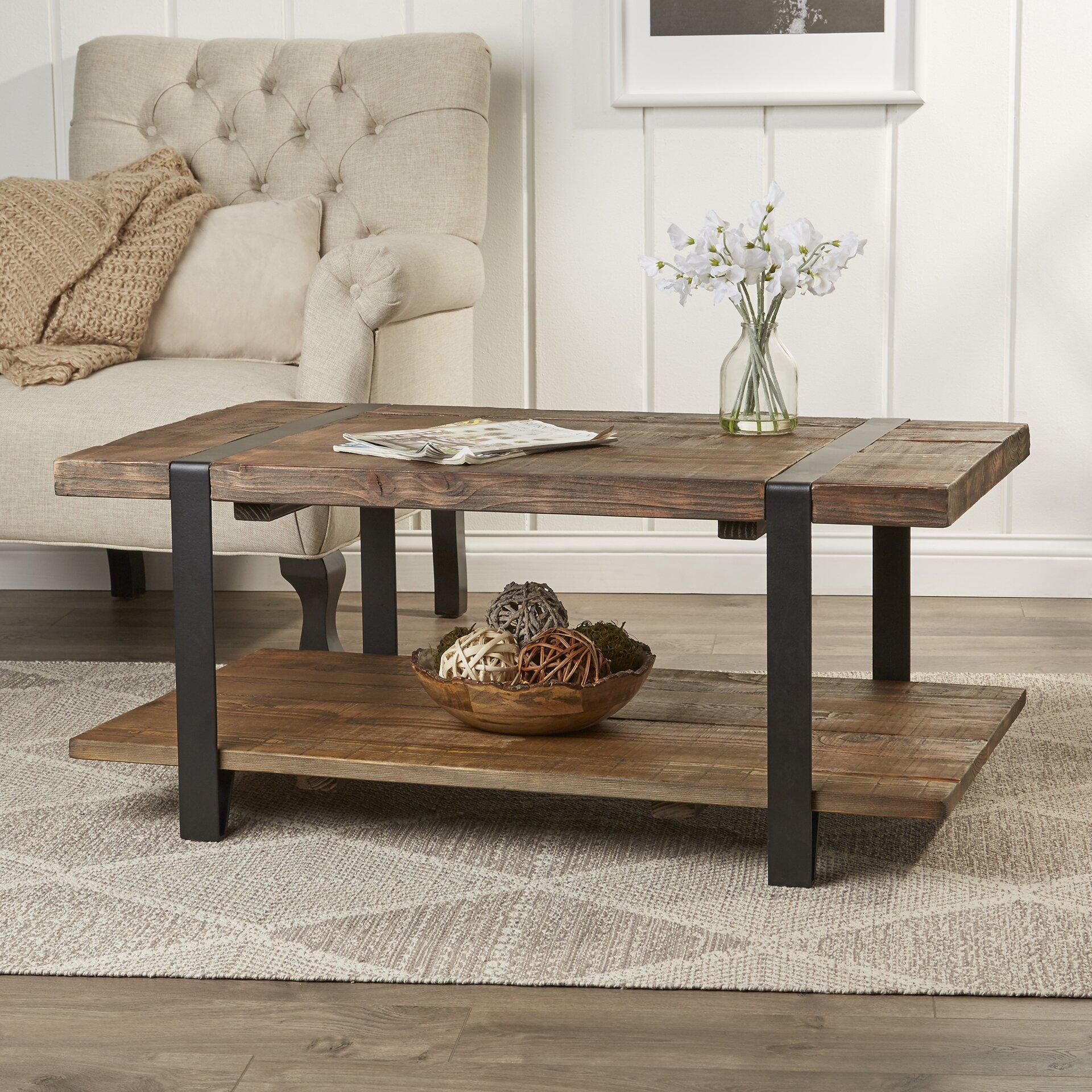 42 fallon coffee table reviews birch lane for Meuble tele verre