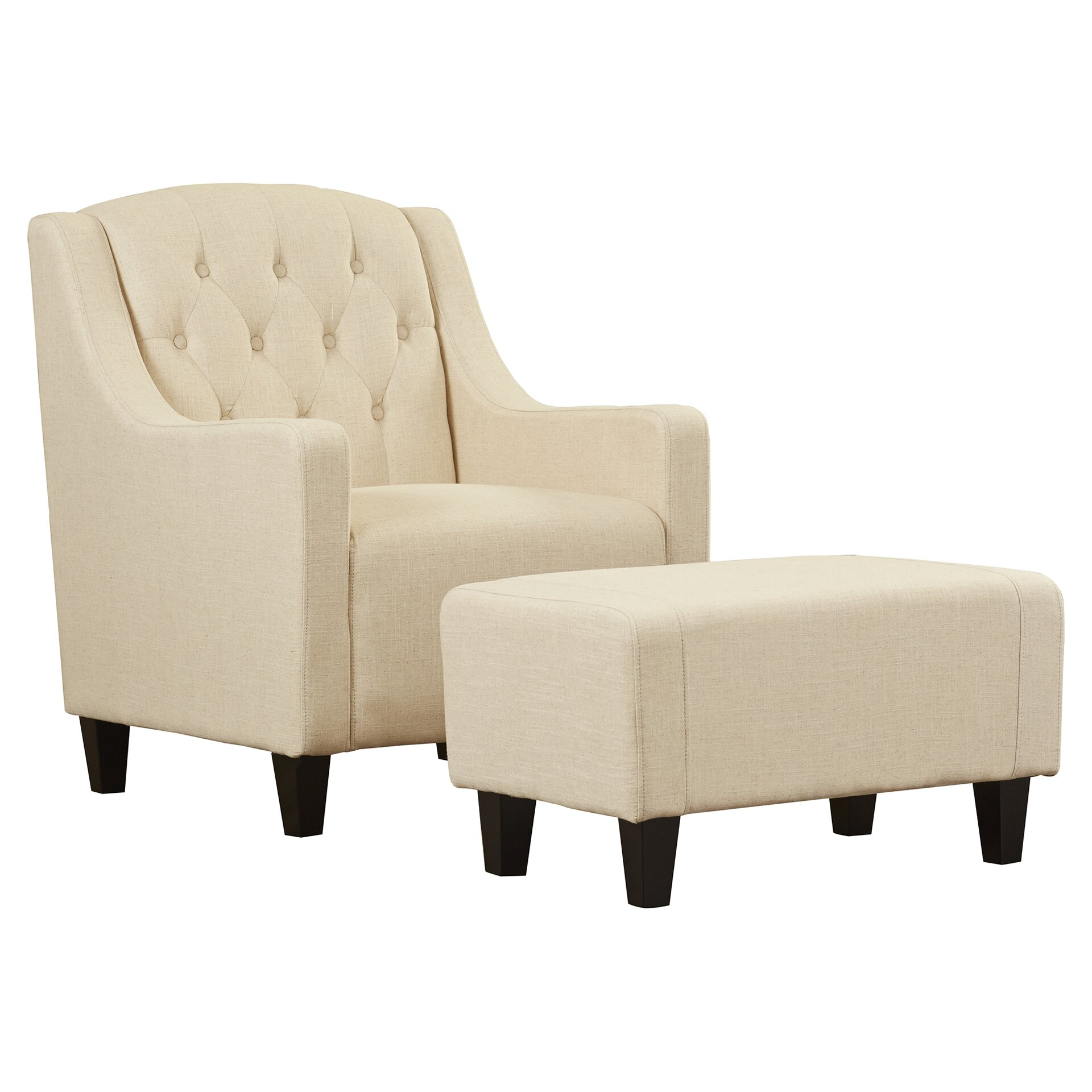 Alcott Hill Bloomington Upholstered Armchair And Ottoman