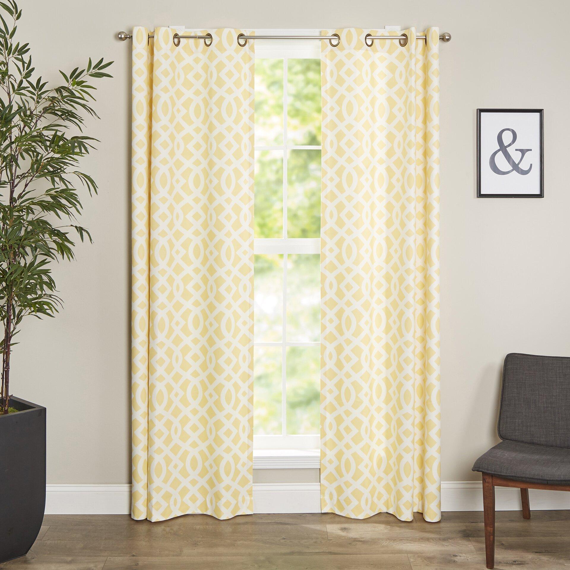 Aries Geometric Semi-Sheer Grommet Curtain Panels