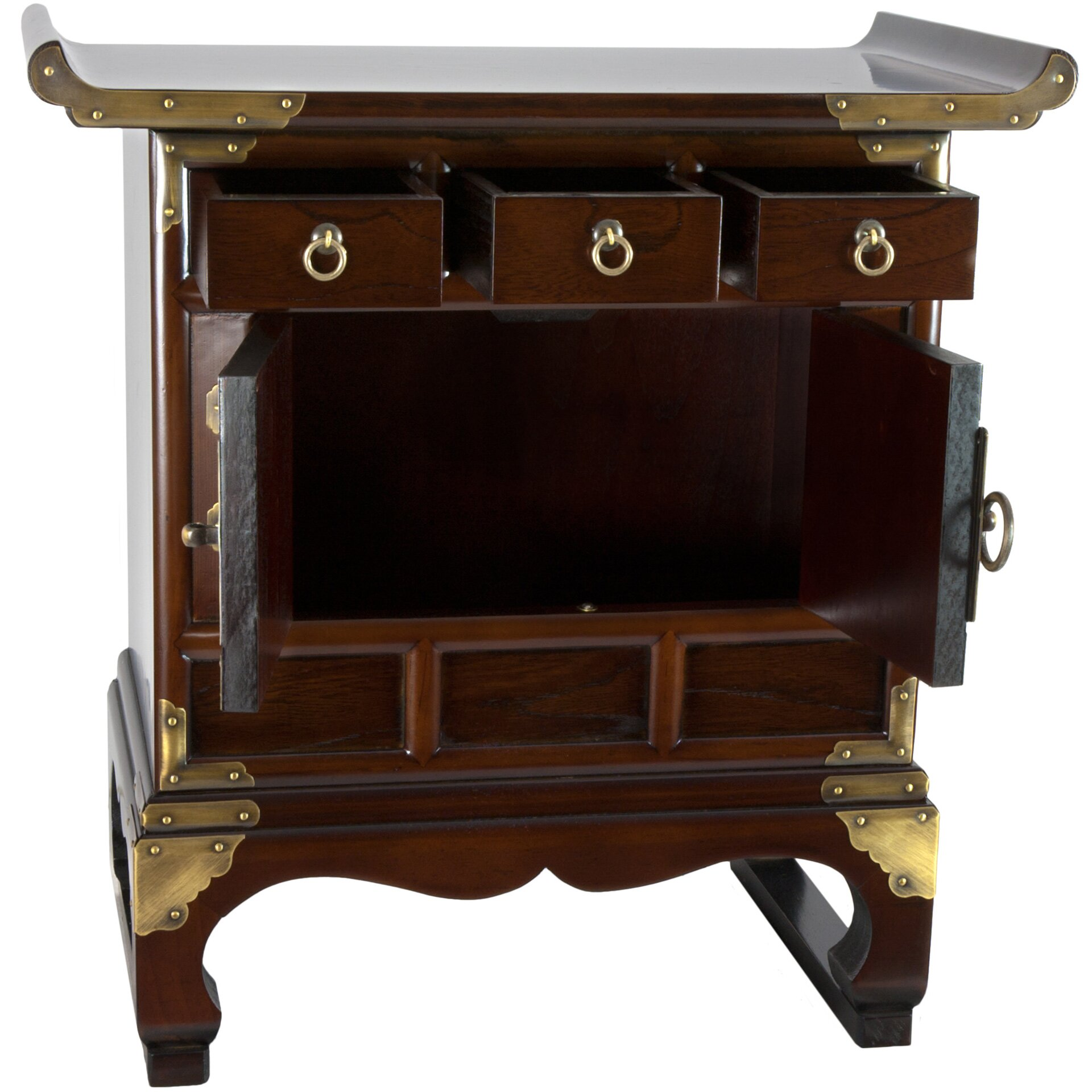 Oriental furniture korean 3 drawer end table cabinet for Table 85 korean