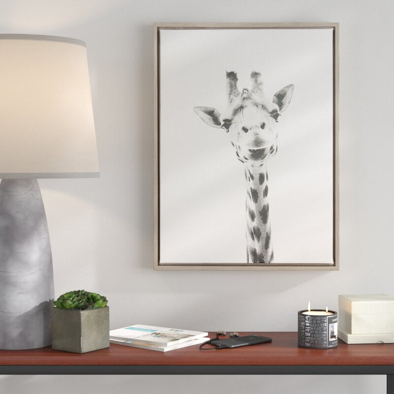 Ivy Bronx \'Giraffe Black and White Portrait\' Framed Drawing Print on ...