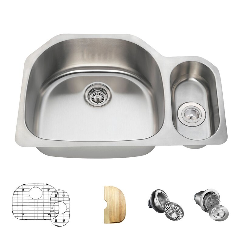 3221l 16 Ens Stainless Steel 32 X 21 Double Basin Undermount Kitchen Sink With Additional Accessories