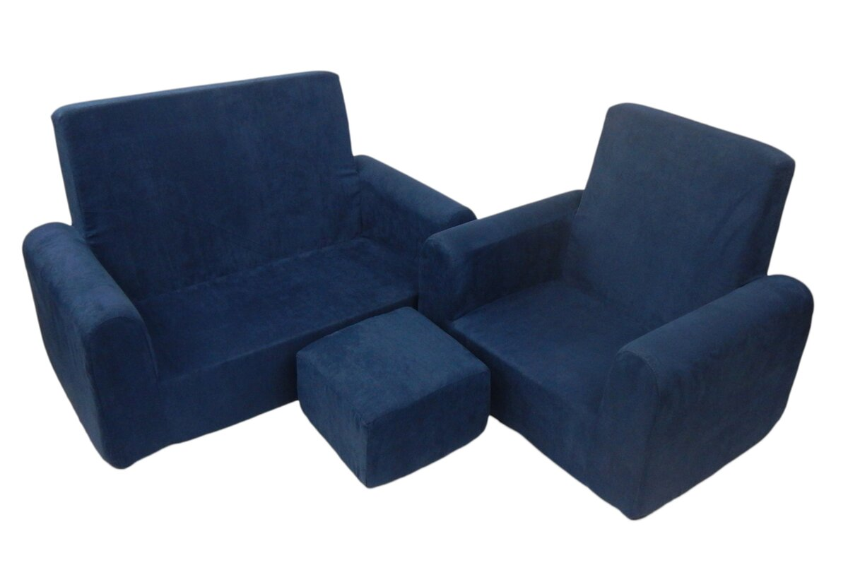 Nice 3 Piece Kids Sofa Chair And Ottoman Set