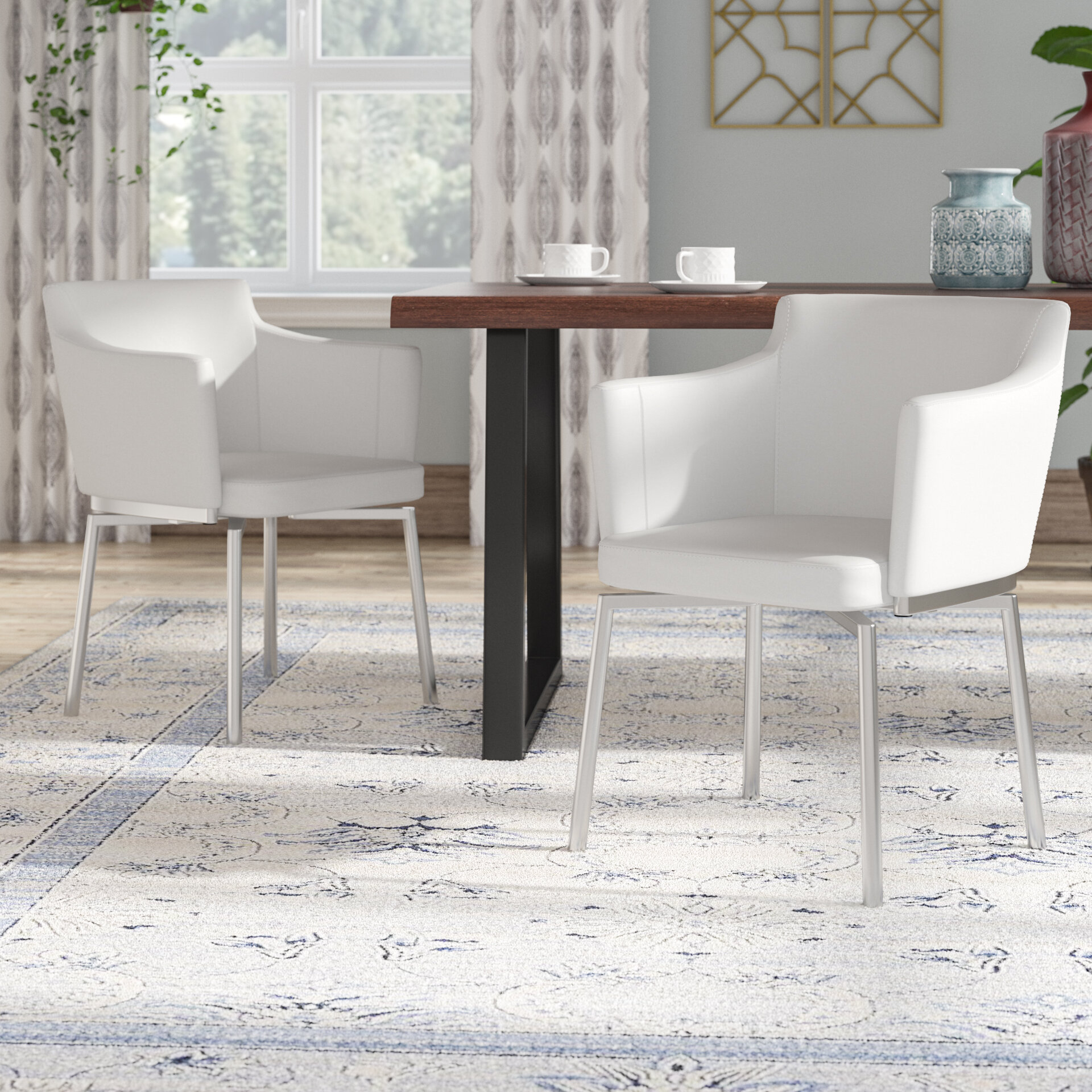 Wade Logan Linwood Upholstered Dining Chair Reviews
