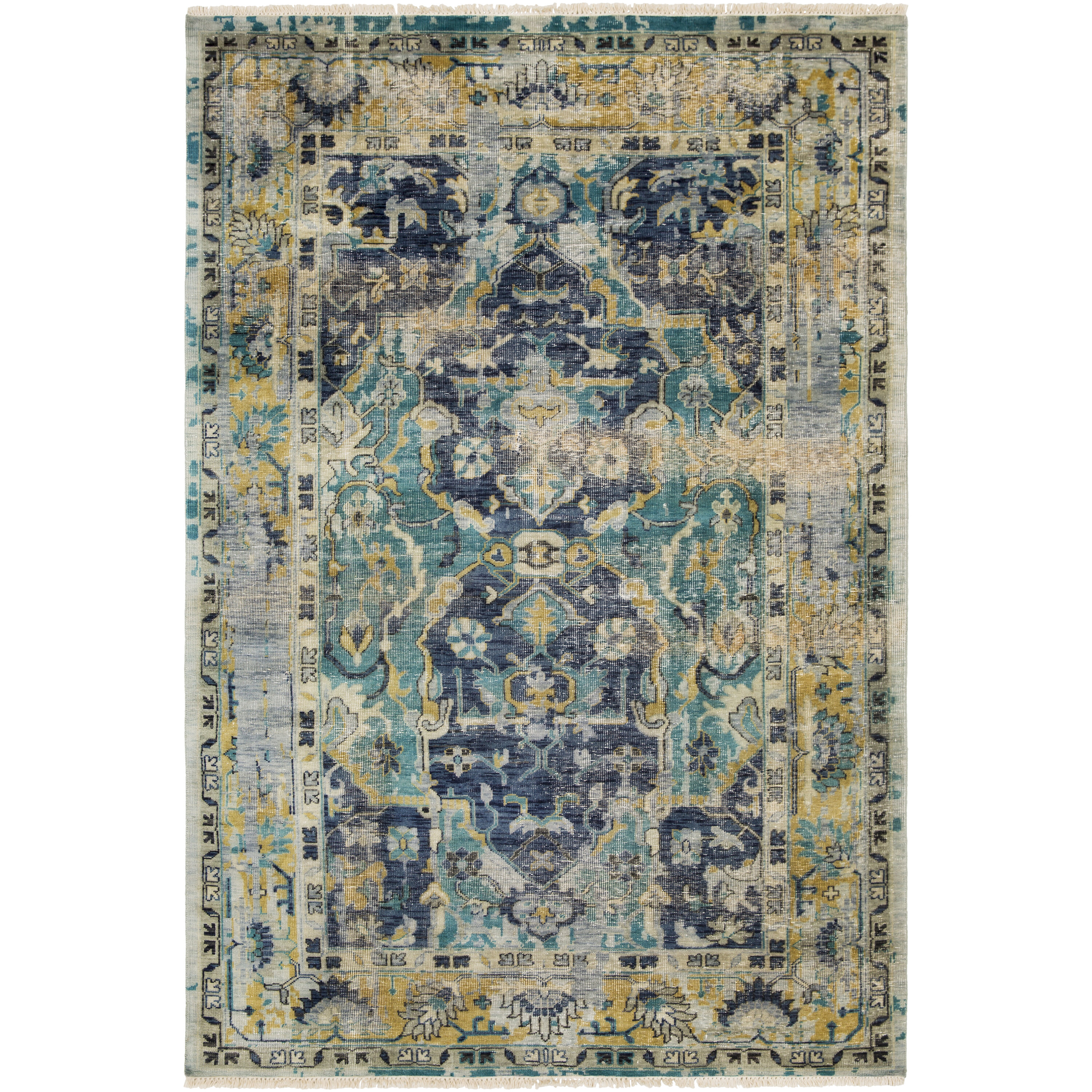 Bungalow Rose Makenna Hand Knotted Wool Blue Green Yellow Area Rug
