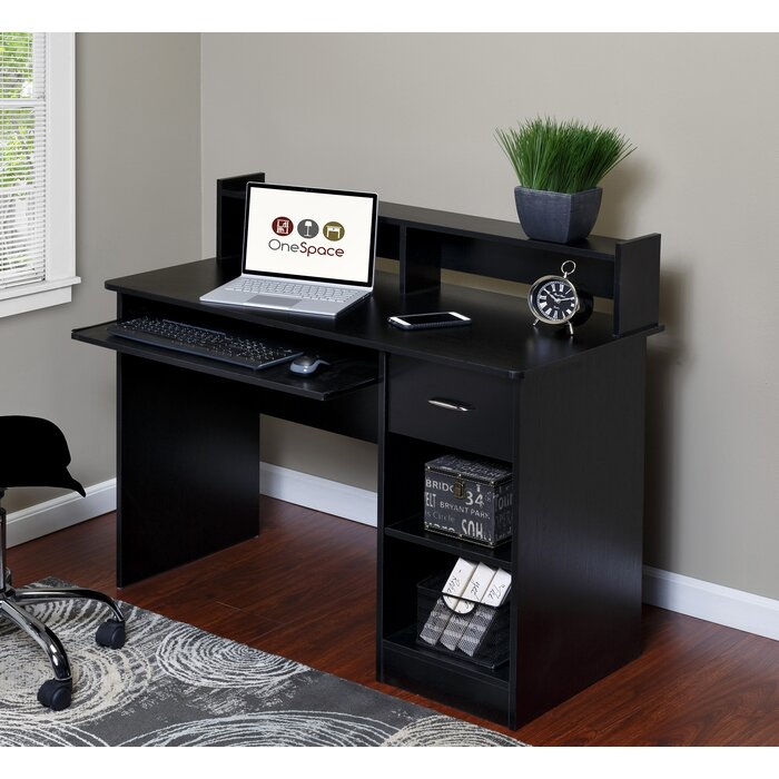 essential computer desk with pullout keyboard black