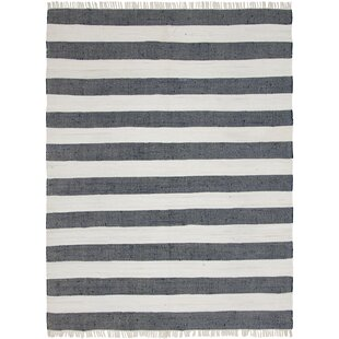 Deals Riojas Hand-Knotted Cotton Gray/Off White Area Rug By Breakwater Bay