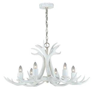 Faux antler chandelier wayfair vail antler 6 light chandelier aloadofball Image collections
