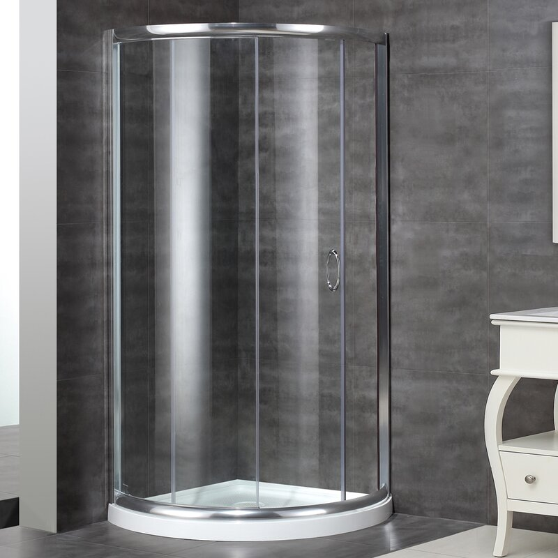Aston Neo-Angle Door Round Shower Enclosure with Shower Base ...