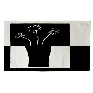 Clearance Minimalist Flower in Vase 4 White/Black Area Rug By Manual Woodworkers & Weavers
