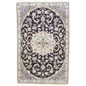 Fine Persian Hand-Knotted Beige/Black Area Rug