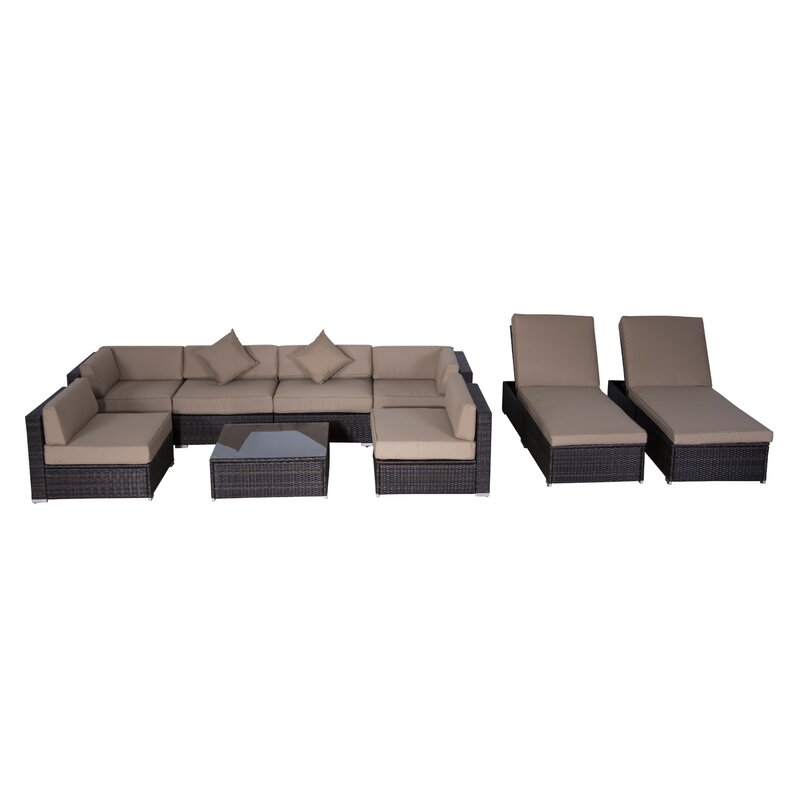 Outsunny 9 Piece Sectional Set With Cushions