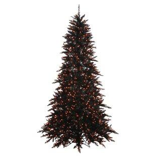 Slim 3 Black Fir Artificial Christmas Tree With 100 Orange Lights Stand