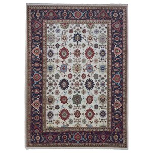 One-of-a-Kind  Rosella Oriental Hand Woven Wool Red/Blue Area Rug