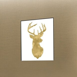 Deer Head Right Face Gold On White Poster Gallery Graphic Art