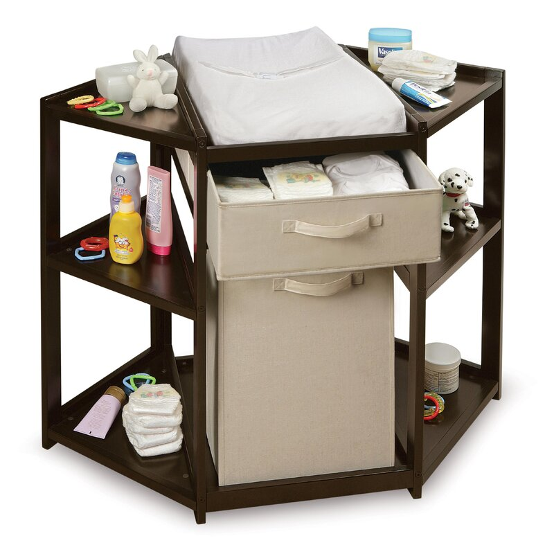 d88c295f56d Badger Basket Diaper Corner Baby Changing Table with Hamper and ...