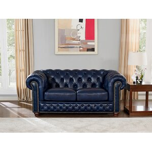 Forsyth Leather Chesterfield Loveseat by Tre..