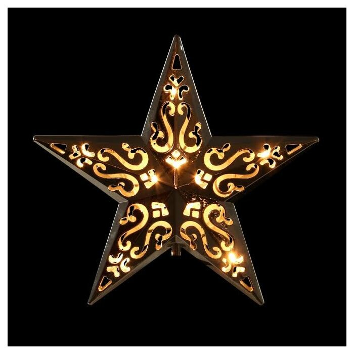 Lighted Cut Out Design Decorative Star Christmas Tree Topper