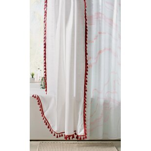 Everardo 100% Cotton Tassel Shower Curtain