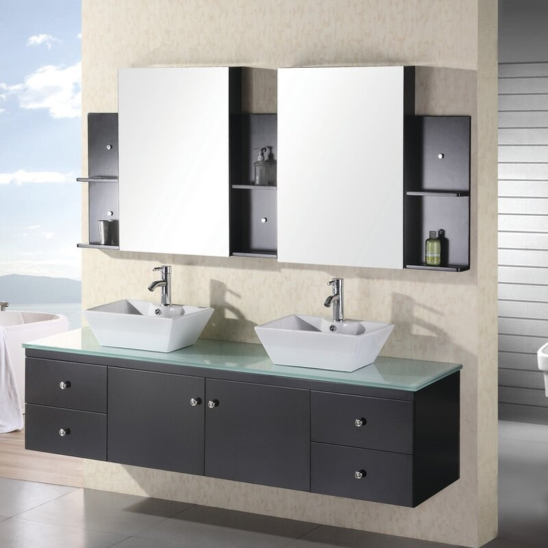Newcastle 72 Floating Double Bathroom Vanity Set With Mirror