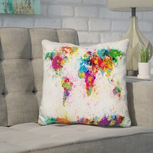 World map bedding sets wayfair corlew world map paint splashes throw pillow gumiabroncs Gallery