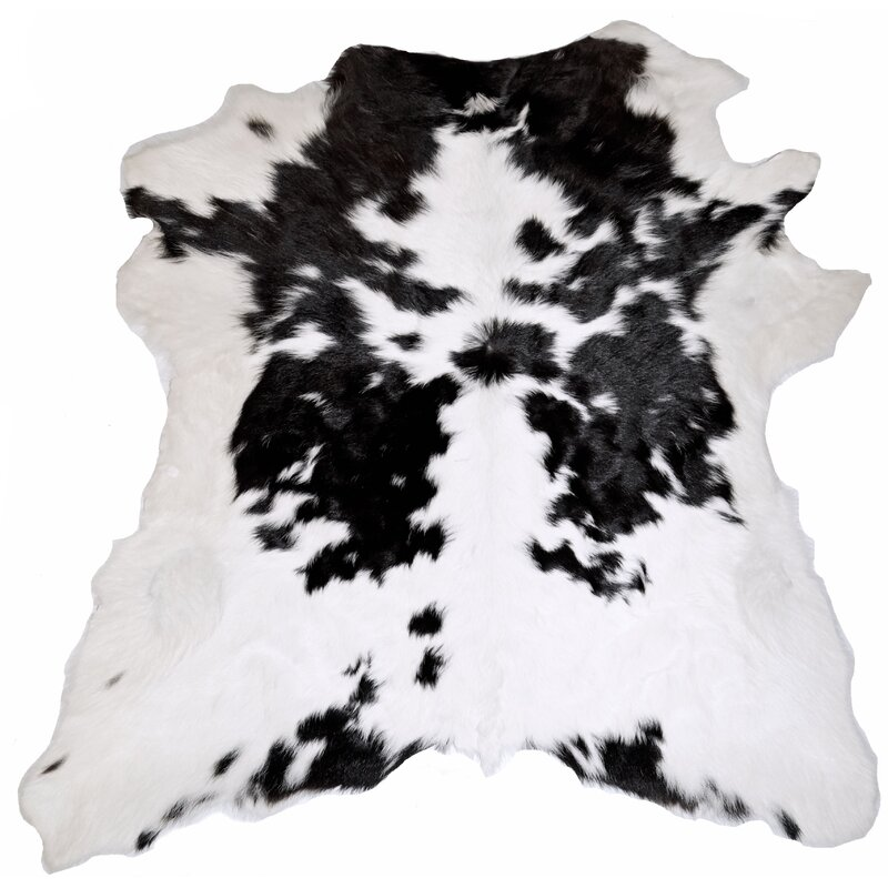 Alleman Cowhides Black And White Calf Skin Area Rug