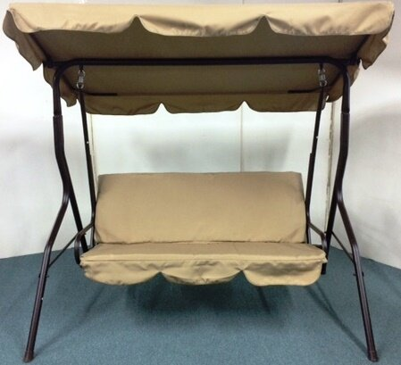 3 Seat Sage Pad Porch Swing with Canopy & LB International 3 Seat Sage Pad Porch Swing with Canopy u0026 Reviews ...