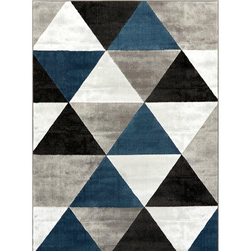 Mid Century Modern Rugs: Wrought Studio Ruark Mid-Century Modern Retro Shapes Blue