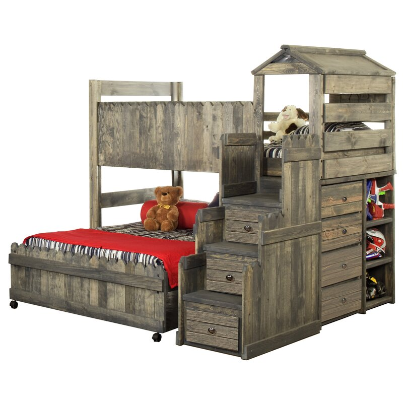 Harriet Bee Lille Twin Over Full L Shaped Bunk Bed With Stairway