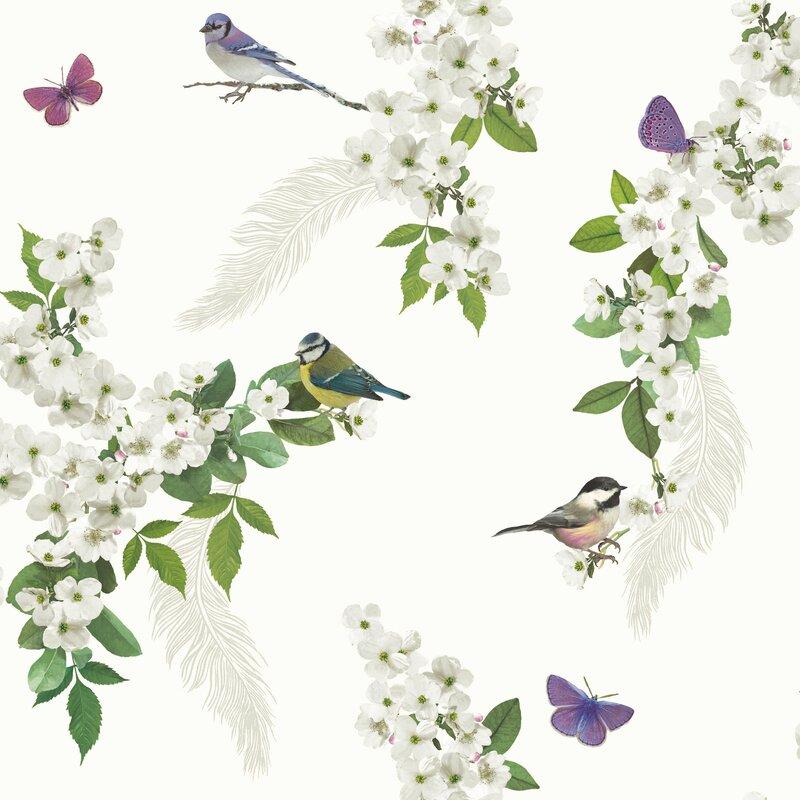 "Mitzu 31.5' x 22"" Floral and Botanical Wallpaper"