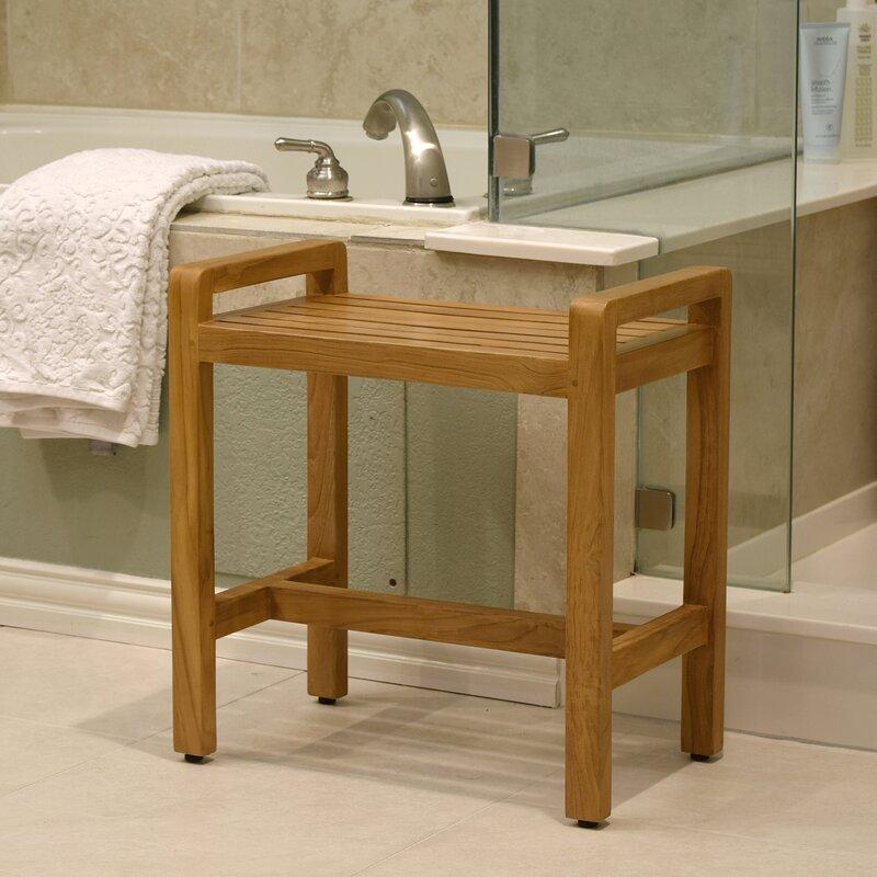 Asta Furniture, Inc. Amati Solid Teak Free Standing Shower Stool ...