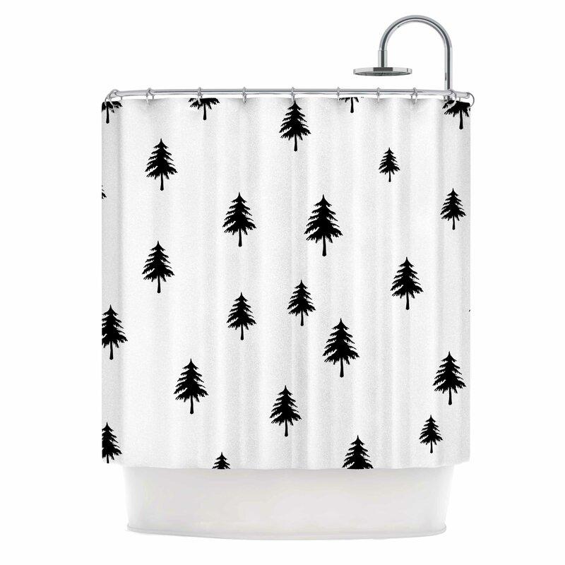 East Urban Home Pine Tree Shower Curtain | Wayfair