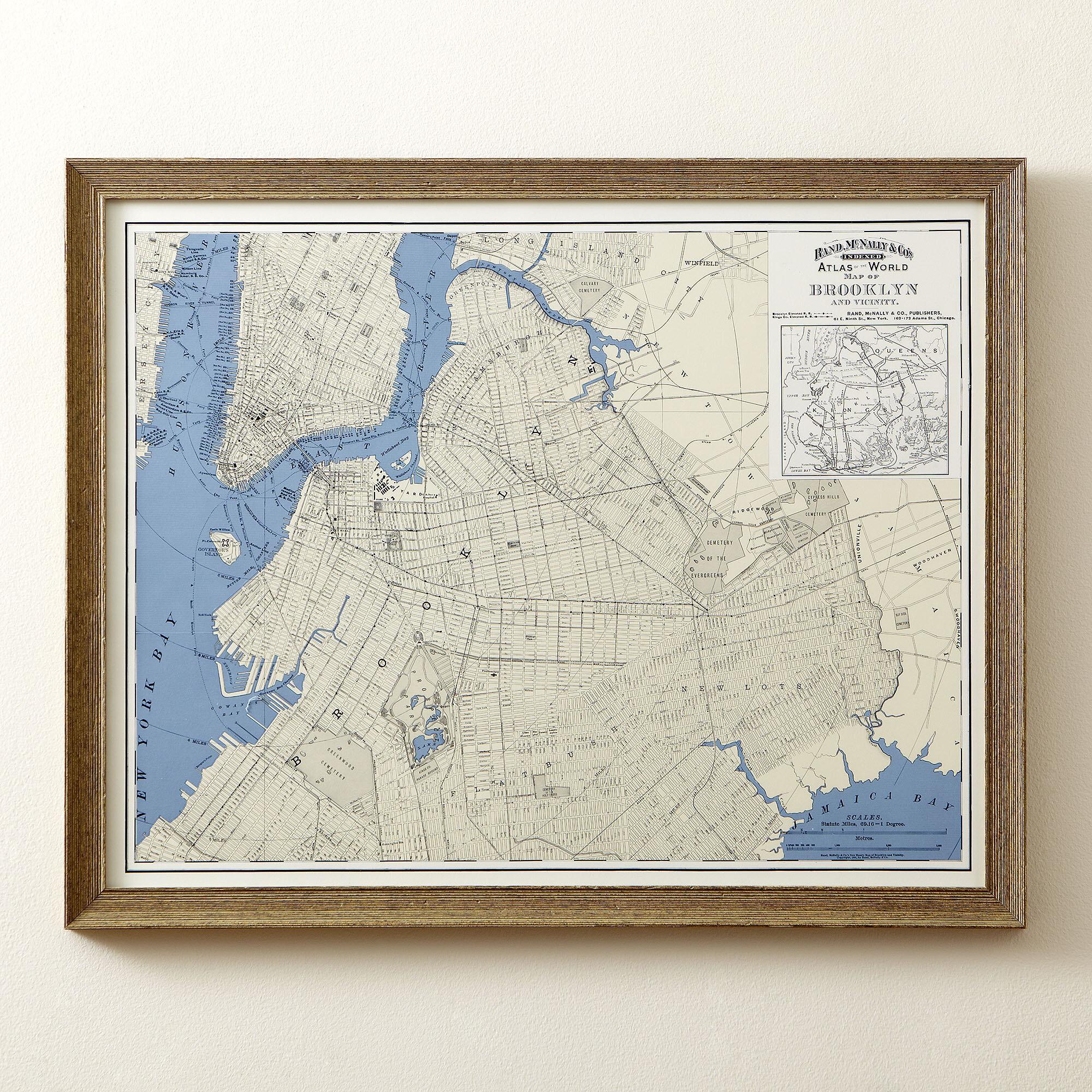 Birch lane brooklyn map framed print birch lane gumiabroncs Gallery