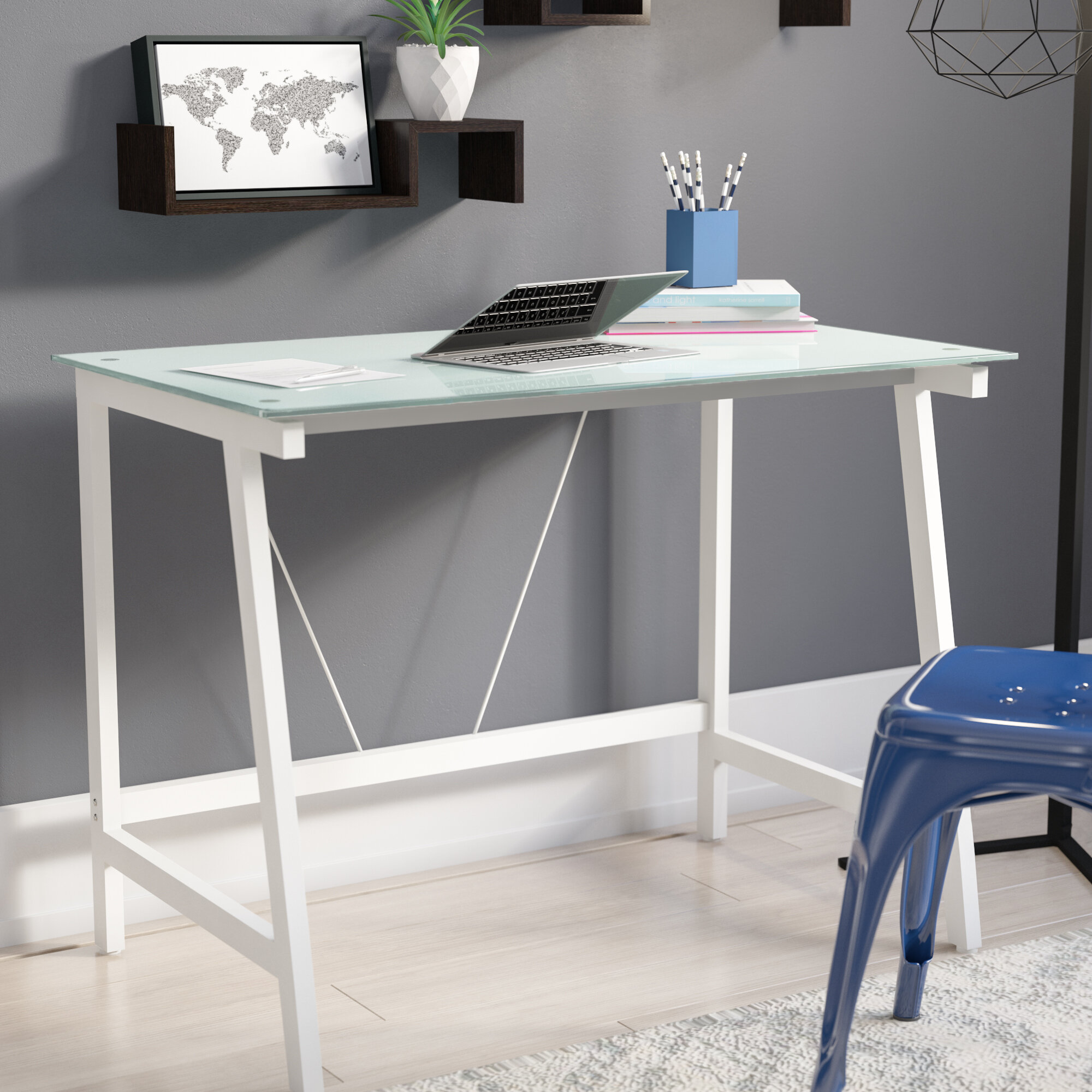 zipcode design chane contemporary glass writing desk reviews wayfair rh wayfair com glass drawing desk glass writing desk uk