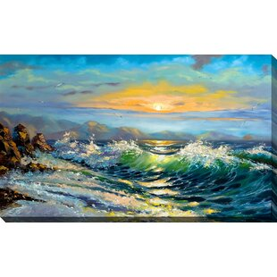 da916ee3ff  Painted Ocean Waves  Oil Painting Print on Wrapped Canvas