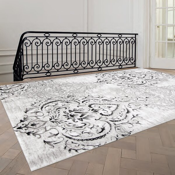 Fleur De Lis Living Abbate Venetian Grey White Area Rug