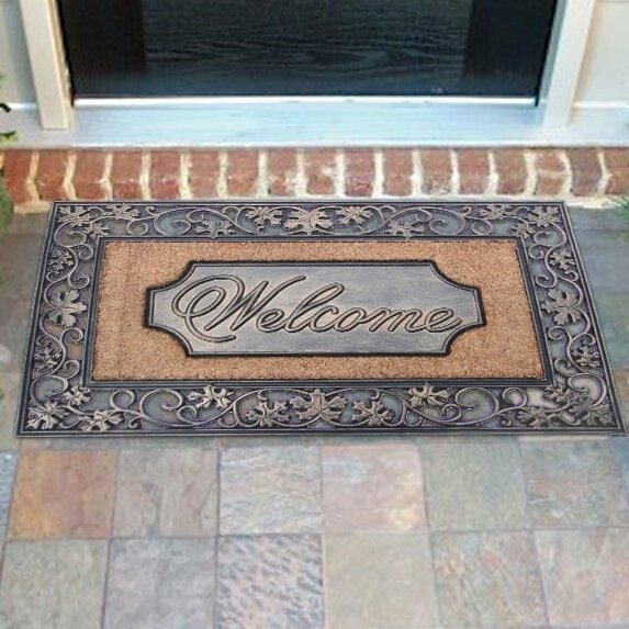 Artistic Leaf Welcome Rubber Coir Doormat
