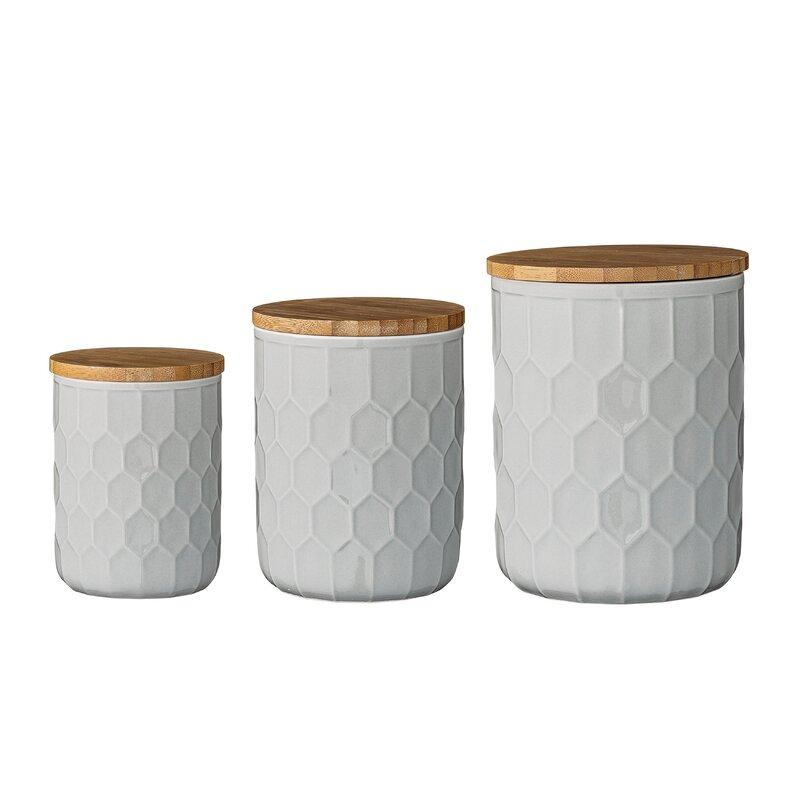 Scandinavian 3 Piece Kitchen Canister Set