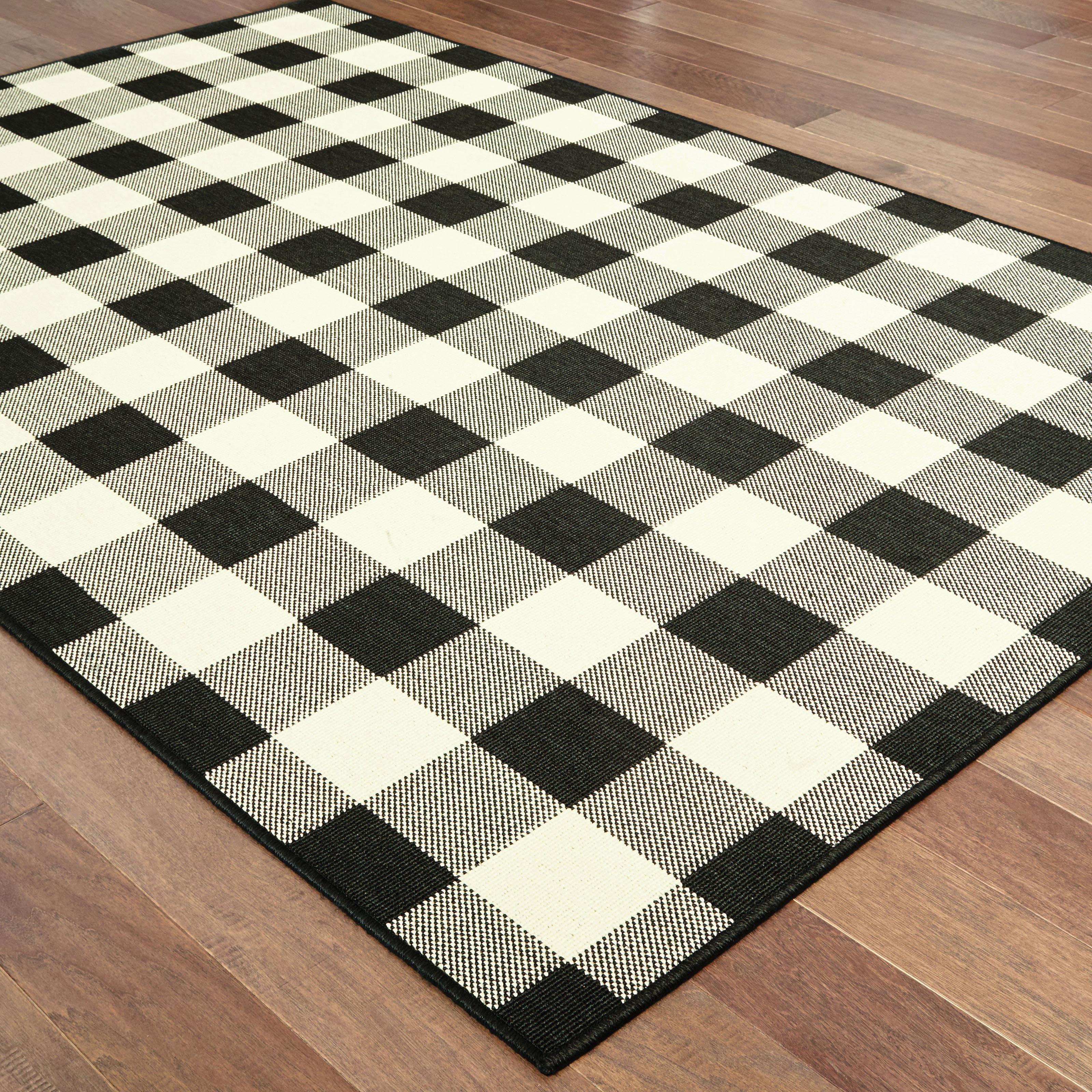 Wiest Gingham Check Blackivory Indooroutdoor Area Rug Reviews