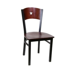 Star Metal Solid Wood Dining Chair (Set o..