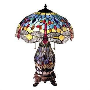 Dragonfly tiffany lamp wayfair delroy dragonfly tiffany 23 table lamp aloadofball Gallery