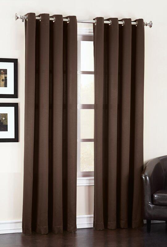 Sun Zero Groton Solid Semi Sheer Grommet Single Curtain
