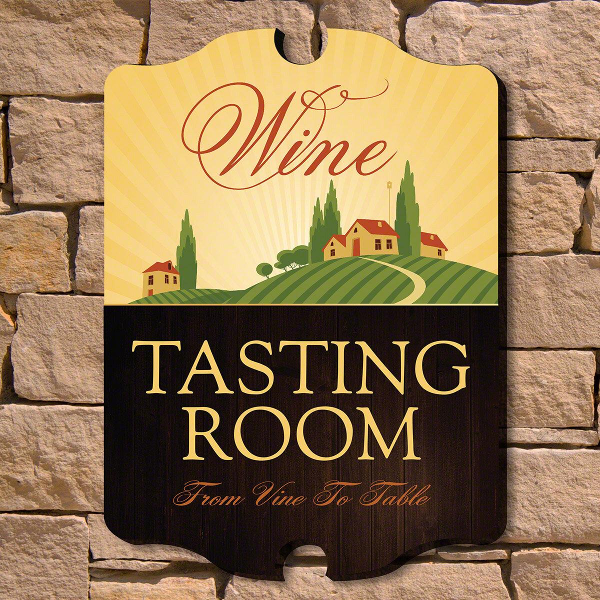 Home Wet Bar Tasting Room Wooden Wine Sign Wall Décor   Wayfair