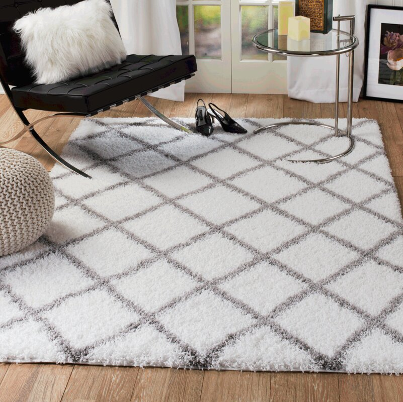 rug and decor inc supreme shag diamond white gray area rug reviews wayfair. Black Bedroom Furniture Sets. Home Design Ideas