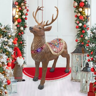 santas north pole illuminated reindeer statue - Christmas Reindeer Decorations