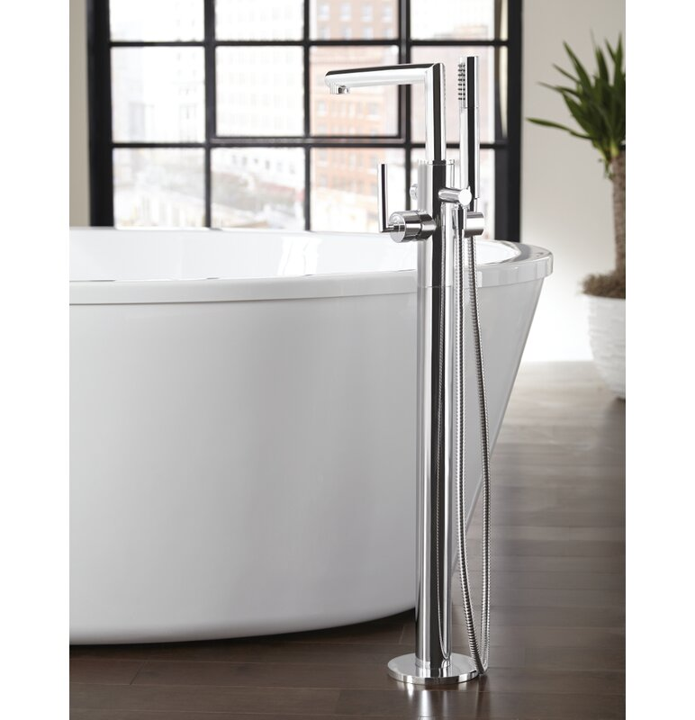 Arris Single Handle Floor Mount Tub Filler Trim With Hand Shower