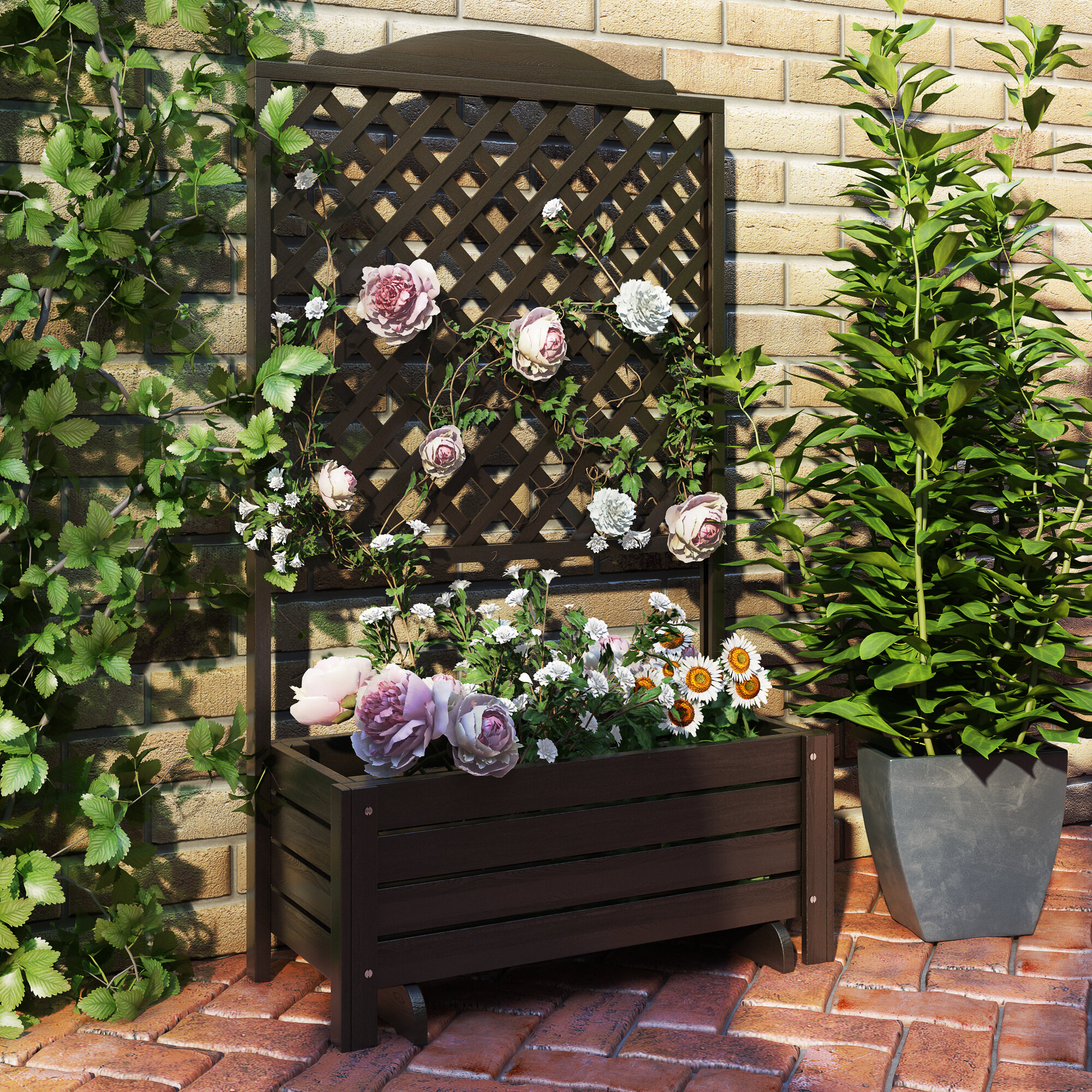 Romantica Wooden Planter Box With Trellis