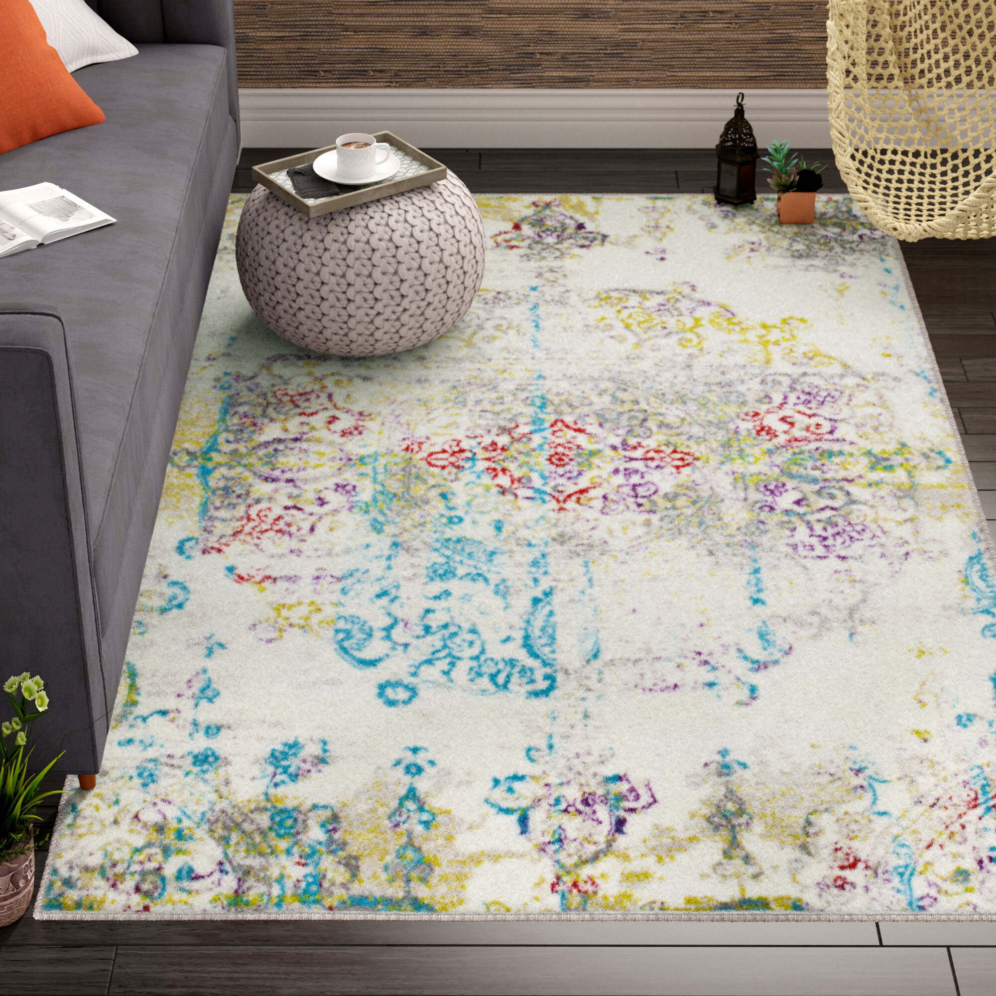 Bungalow Rose Brees Medallion Ivory White Red Area Rug Reviews Wayfair