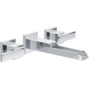 ara two handle wallmount lavatory faucet with channel spout