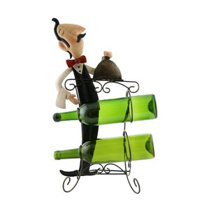 Mari Sophiscated Waiter Holding Tray of Food 2 Bottle Tabletop Wine Rack by Fleur De Lis Living